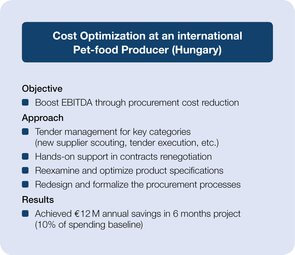 Cost optimization at an international Pet-food producer