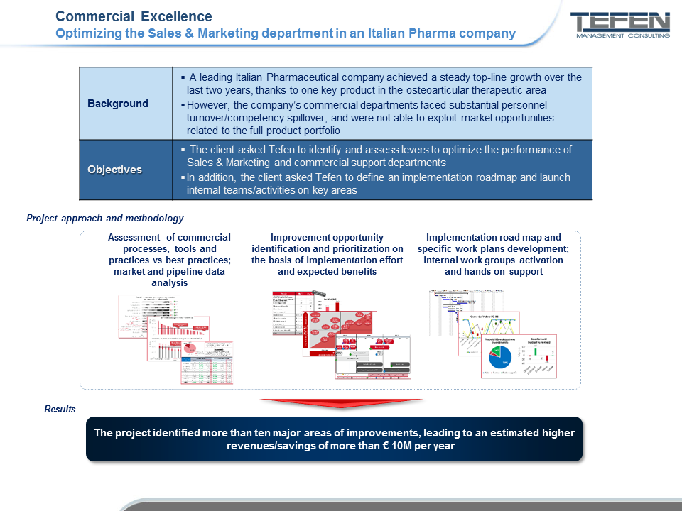 Optimizing the Sales & Marketing department in an Italian Pharma company - case study's slide
